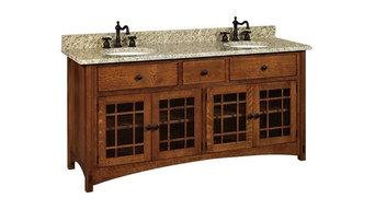 Springhill  Bathroom Vanity, Oak, Natural, Glass Door
