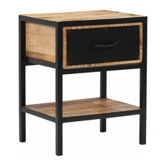 VidaXL Solid Mango Wood Bedside Cabinet With Drawer 15.7-inch Nightstand Side