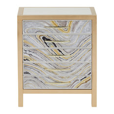 Modern Handpainted Accent Chest, White and Gold Swirl