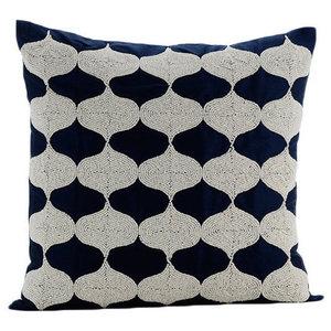 Blue Beaded Lattice Trellis 40x40 Silk Cushions Cover, Aladdin