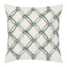Elaine Smith Aqua Rope Pillow