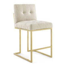 Beige Fabric Counter Stool, Heidi Giselle Gold Counter Stool, Luxe Glam Tufted