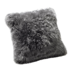 Large New Zealand Sheepskin Cushion, Grey