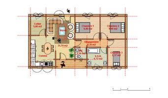 Maison 3 chambres en bois massif