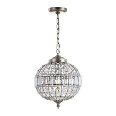 """Georgina Crystal, Metal LED Chandelier Pendant, Antique Brass, 12"""""""