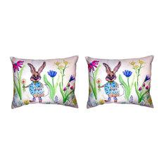 Pair of Betsy Drake Happy Bunny No Cord Pillows 16 Inch X 20 Inch