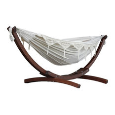 Double Cotton Hammock with Solid Pine Arc Stand, Natural