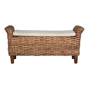 Caspian Woven Bench Tropical Upholstered Benches By