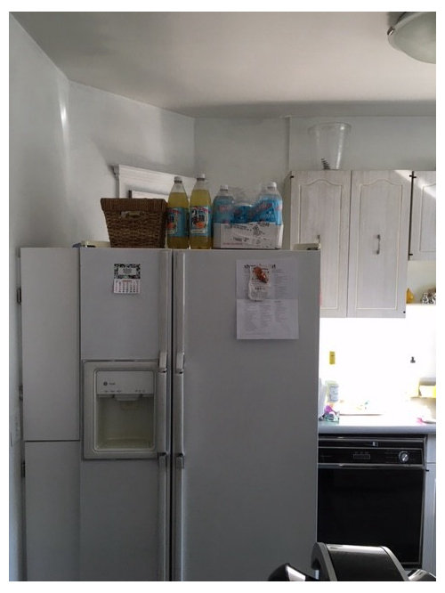 Small kitchen and refrigerator