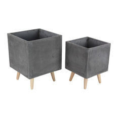 Modern Square Fiber Clay Planters With Wooden Legs, 2-Piece Set, Black