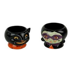 Ceramic Black Cat and Witch Halloween Decor Snack Dish Set