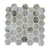 "Sea Shell Recycled Hexagon Glass Mosaic Tile, 12""x12"""