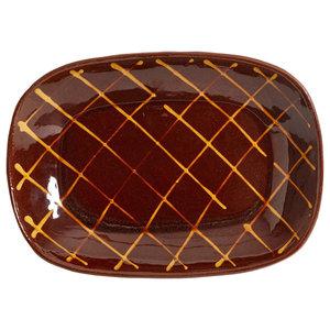 Handmade Oval Crosshatch Pie Dish by Douglas Fitch