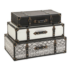 imax stylish simple multi set of 3 aberdeen storage trunks home decor decorative trunks - Decorative Storage Trunks