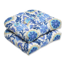 Santa Maria Azure Wicker Seat Cushion, Set of 2