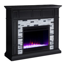 Drew Marble Fireplace, Black and White