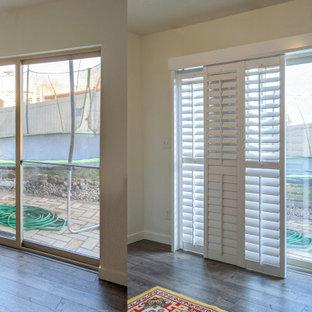 Sliding glass patio door plantation shutter installation before & after