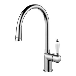 Extendable Classic Kitchen Mixer Tap, Brushed Stainless Steel