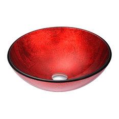 Anzzi Crown Series Deco Gl Vessel Sink Rous Red Bathroom Sinks