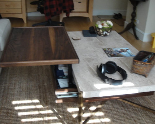 Travertine Coffee Table With Under Mount Storage U0026 Built In Pop Up Table  (Walnut