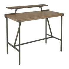 Gia Industrial Counter Table Antique Metal And Brown Wood-Pressed Grain Bamboo