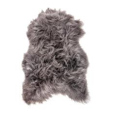 "Maison Thuret Icelandic Sheepskin Rug, Gray, 2'2""x3'7"""