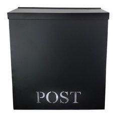 Stanley Laset-Cut Iron Mailbox, Black