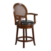 """26"""" High Expresso Wood Counter Height Stool With Arms and Black Leather Swivel"""