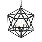 4-Light Geometric Iron Antique Black Glass Shade Cage Chandelier Farmhouse