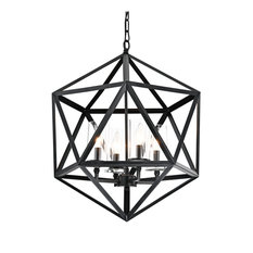 4-Light Geometric Iron Antique Black Glass Shade Cage Chandelier Farmhouse