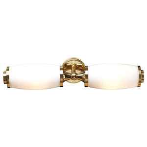 Eliot Twin Bathroom Wall Light, Polished Brass