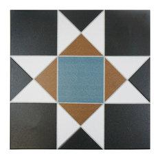 "SomerTile 13""x13"" Narcissus Ceramic Floor/Wall Tile, Case of 10, Nouveau"