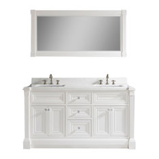 "Avenue 63"" Vanity Set With Solid Surface Quartz Top, White"