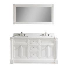 "Avenue 63"" Vanity Set With Solid Surface Quartz Top, White"