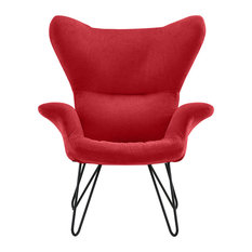 Casa Divina - Retro Style Accent Chair with Shelter Frame, Pin Legs, Red - Armchairs and Accent Chairs