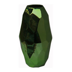 Sm Metallic Green Ceramic Vase