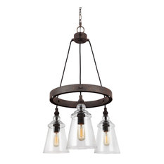 Loras Three Light Chandelier Dark Weathered Iron Clear Seeded Gl