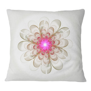 Sofa Throw Pillow 20 Designart CU16202-20-20-C Pink White Fractal Glass Texture Abstract Round Cushion Cover for Living Room