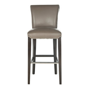 Safavieh Seth Barstool, Leather With Nail Head, Clay/Espresso