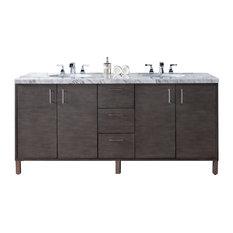 """Metropolitan 72"""" Double Vanity Silver Oak, Base Cabinet Only"""