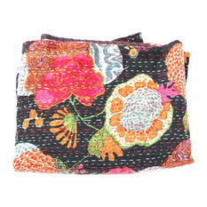 "Kantha Fruit Throw, Black, 60""x80"""