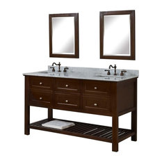 "Mission Spa 60"" Double Vanity, Carrara Marble Top, Without Mirror"