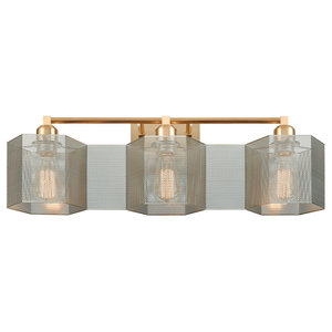 Compartir 3 Light Vanity Light Satin Brass With Perforated Metal Contemporary Bathroom Vanity Lighting By Ownax Vaasuhomes