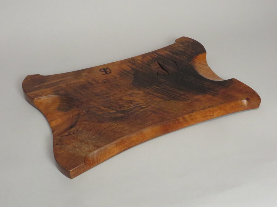 #15035 Rear Detail. Hand-Carved Serving Tray. Reclaimed American Beech