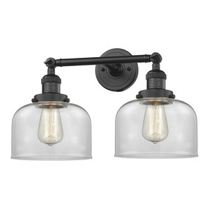 Large Bell 2 Light Bathroom Vanity Light in Matte Black