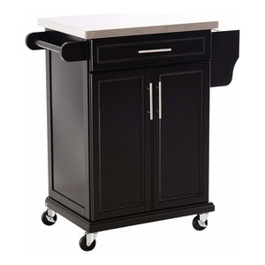 Modern Trolley Cart, Black Painted MDF With Stainless Steel Worktop and Cabinet