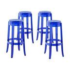 Santino Fabric Bar Stools Set Of 2 Blue Contemporary