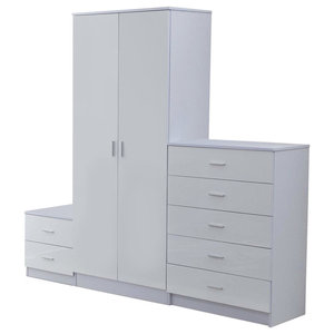 3-Piece Bedroom Furniture Set With Wardrobe, Chest of Drawer and Bedside Cabinet