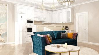 Дизайн-проект кухни-гостиной-столовой для прекрасной девушки