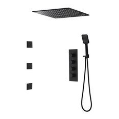 """Ceiling Mount Square Black Rain Shower System With Body Spray Jets in Wall, 16"""""""